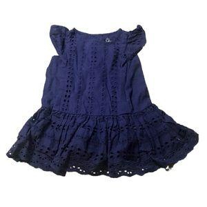 3/$10 Cherokee Baby Girl's Navy Eyelet Dress